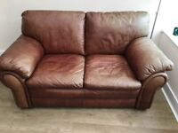 Leather 2 seat Sofa with footstool