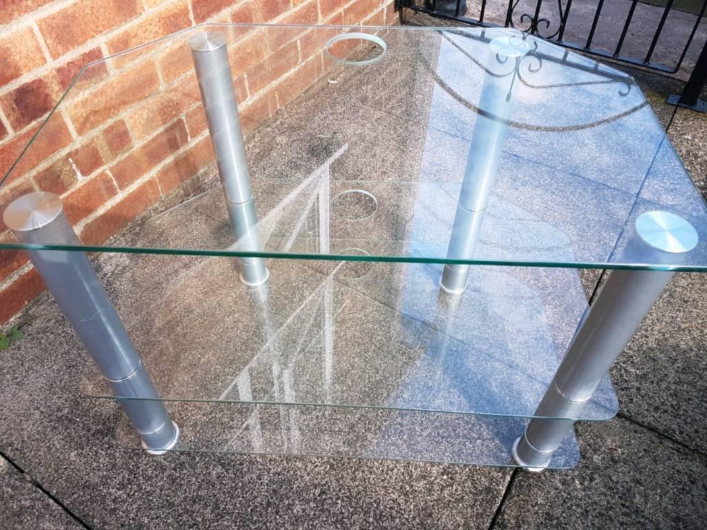 Glass Corner TV Table