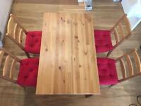 Ikea Jokkmokk Dining Table with Chairs and Cushions