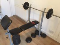 Pro Power weight bench, Bar and Plates