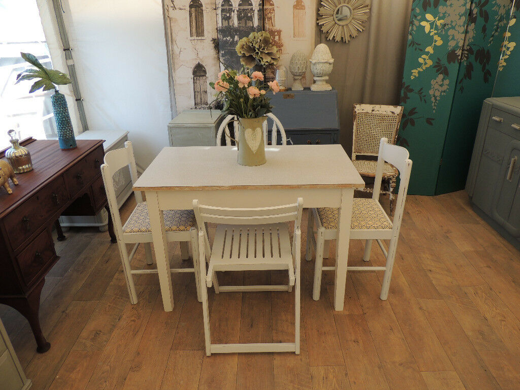 vintage formica top kitchen table with 4 chairs shabby