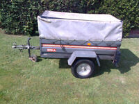 Trailer, Erka, 5'x3', Galvanised, Tipping Body, Drop Down Tail Gate, Removable custom built frame &