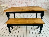 Rustic Farmhouse Reclaimed Style Pine Kitchen Dining Table - Any Size, Any Colour!