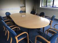 Large meeting table (can split to 4 tables) with internal elec sockets/data cables & 10 chairs