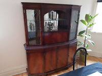 Large wooden display cabinet with mirrors