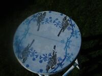 Lovely decoupage stool , white with blue