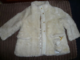 Girls H&M white winter coat, 1,5 - 2 Y