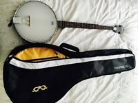 Ozark 2102G Open Back 5 String Banjo with case - like new, only played once!