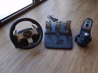 Logitech g27 simulation steering wheel with gear shifter and clutch