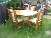EXTENDING PINE DINING TABLE & CHAIRS ( upcycle project)
