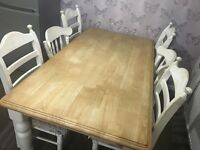 Wooden dining table and 6 chairs, ideal project,