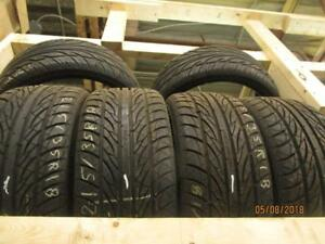 215/35R18 SET OF 4 MATCHING USED ATRTEZZO A/S TIRES