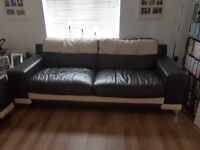 Leather sofa for sale. Excellent condition. Brown and cream. We bought it from DFS 2013