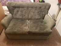 Good quality solid wood sofa with matching foot stool