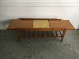 Vintage coffee table with sliding tiled top mid century modern retro