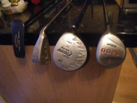 4 CLUBS - Vantage True Line Putter: 2 X Woods and a Ben Charles S1 Apollo Sand Iron.