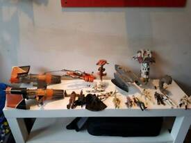 Star wars ships and figures.