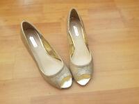 Gold Glitter Shoes, womens heels, Size 5