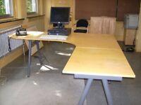 Modern Beech Office Desk / Workstation - W220cm x D80cm x H73cm