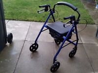 ROLLATOR WALKING SHOPPING AID / FRAME / WALKER / ZIMMER - WITH 4 WHEELS, SEAT & BRAKES
