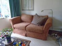 2 MULTI YORK sofas 2 and 3 seaters, good condition tan/ginger loose covers may need updating