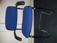 Set of Blue & Chrome visitors chairs with arms