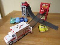 Disney Pixar Cars Lightning McQueen Stunt Ramp and friends bundle.