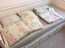 Duck egg curtains & matching cushions