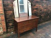 Old Mahogany Chest Drawers Dressing Table Mirror