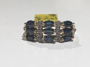 #1472 14K YELLOW GOLD BLUE SAPPHIRES & DIAMONDS *SIZE 6 3/4* JUST BACK FROM APPRAISAL AT $1650.00 SELLING FOR $595.00!!