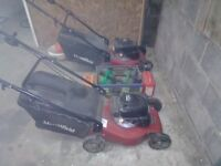 2 mountfield s421 hp 100cc petrol engine lawnmowers,serviced and good runners