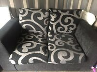 Black and grey 2+3 seater sofas