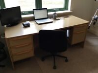 OPUS MATCHING LIGHT OAK DESK (5 drawers) and CABINET (with two sliding doors and shelved)
