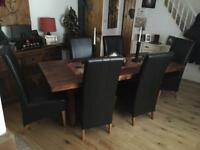 Beautiful Indian Wood Table & 6 leather chairs