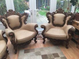 Baroque wooden sofa set handcrafted