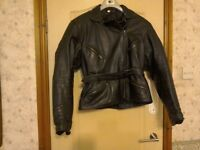 Ladies black leather belstaff motorbike jacket