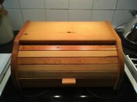 Antique pine bread bin with roller front
