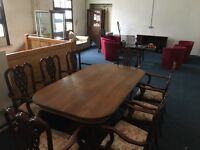 Oak Dining table and 8 carver chairs