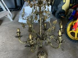 Antique solid brass chandelier plus solid brass wall lights