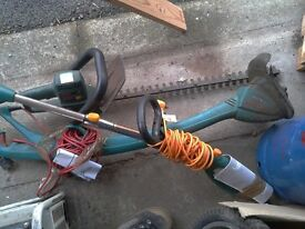 Flymo and Bosch strimmers and bosh hedge cutter