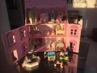 ELS 3 story dolls house with furniture and dolls