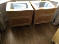 Set of 2 solid oak bedside cabinets with granite marble insert