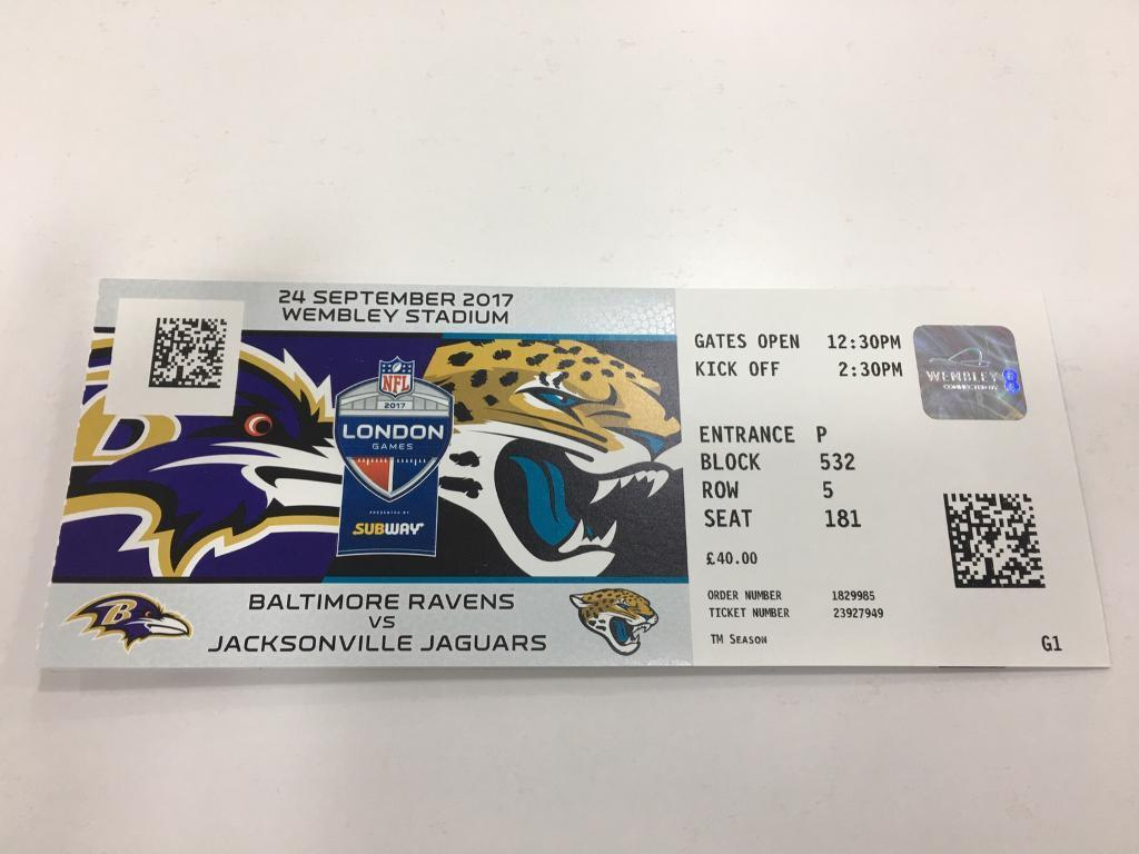 2x nfl tickets london game baltimore ravens vs jacksonville jaguars in islington london. Black Bedroom Furniture Sets. Home Design Ideas