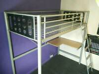 Metal framed high sleepers with built in desk and mattresses x2