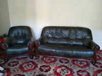 Leather Settee and 1 chair