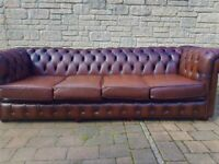 4 Seater Leather Chesterfield Sofa - Cherry Brown