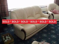 High Quality Cream leather 3 seat sofa, 2 matching chairs and leg rest in Doncaster. Now Sold