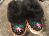 Moccasin sheepskin slippers