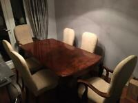 Walnut antique table and chairs