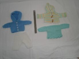 Dolls clothes to suit size of Baby Bjorn doll, jacket, hooded jacket, jumper, trousers £3 gd con